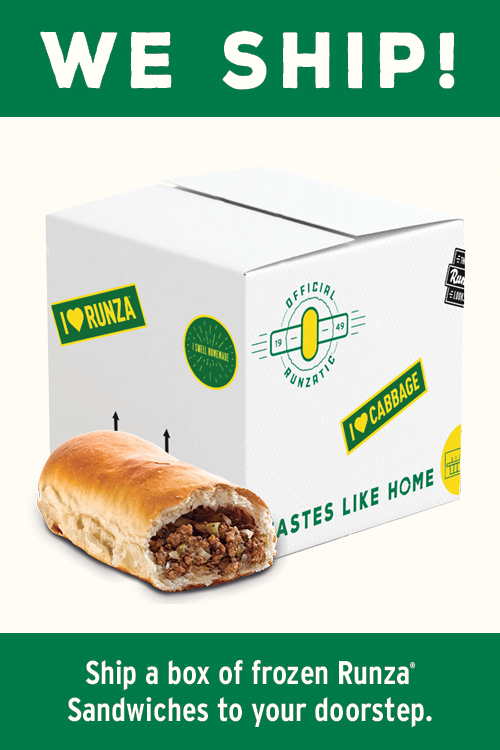 We Ship! Ship a box of frozen Runza Sandwiches to your doorstep.